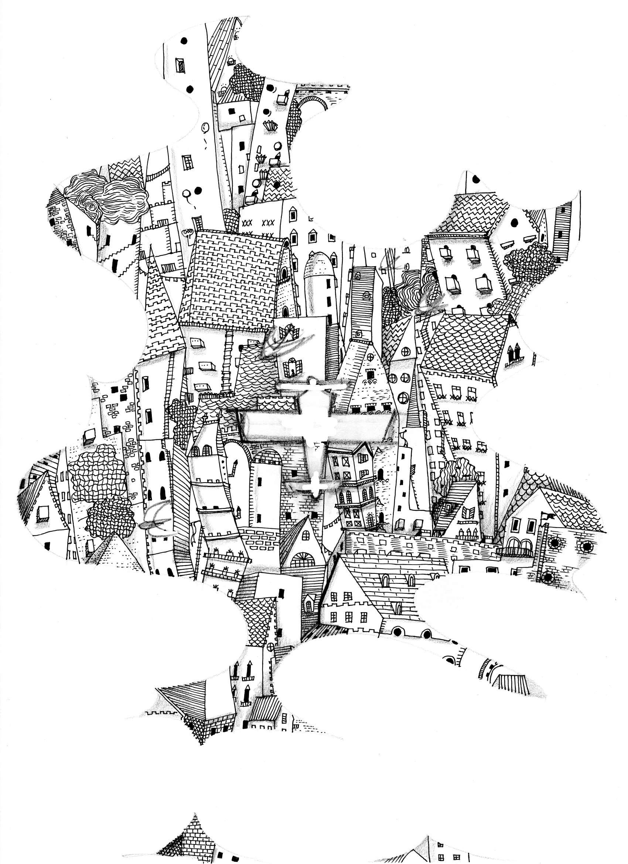 線画 飛行機と街