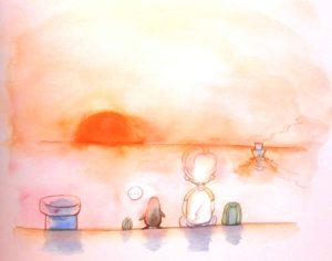 夕日を見る少年とペンギン