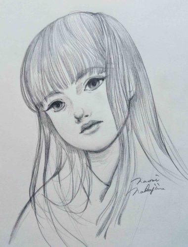 日本の少女 鉛筆画